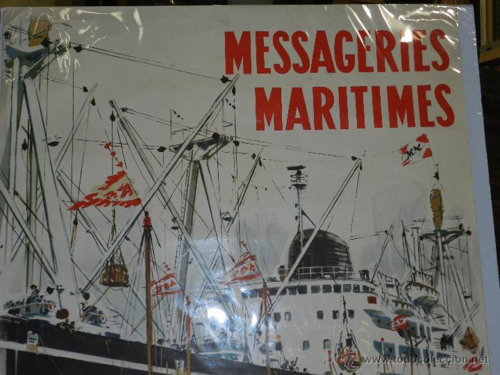 Carteles de Transportes: CARTEL NAVIERA MESSAGERIES MARITIMES JAPON, AUSTRALIE, AFRIQUE DU SUD, ILUSTRADO A BRENET, AÑOS 40 - Foto 2 - 47738964