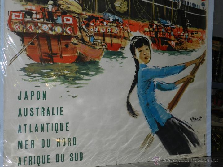 Carteles de Transportes: CARTEL NAVIERA MESSAGERIES MARITIMES JAPON, AUSTRALIE, AFRIQUE DU SUD, ILUSTRADO A BRENET, AÑOS 40 - Foto 4 - 47738964