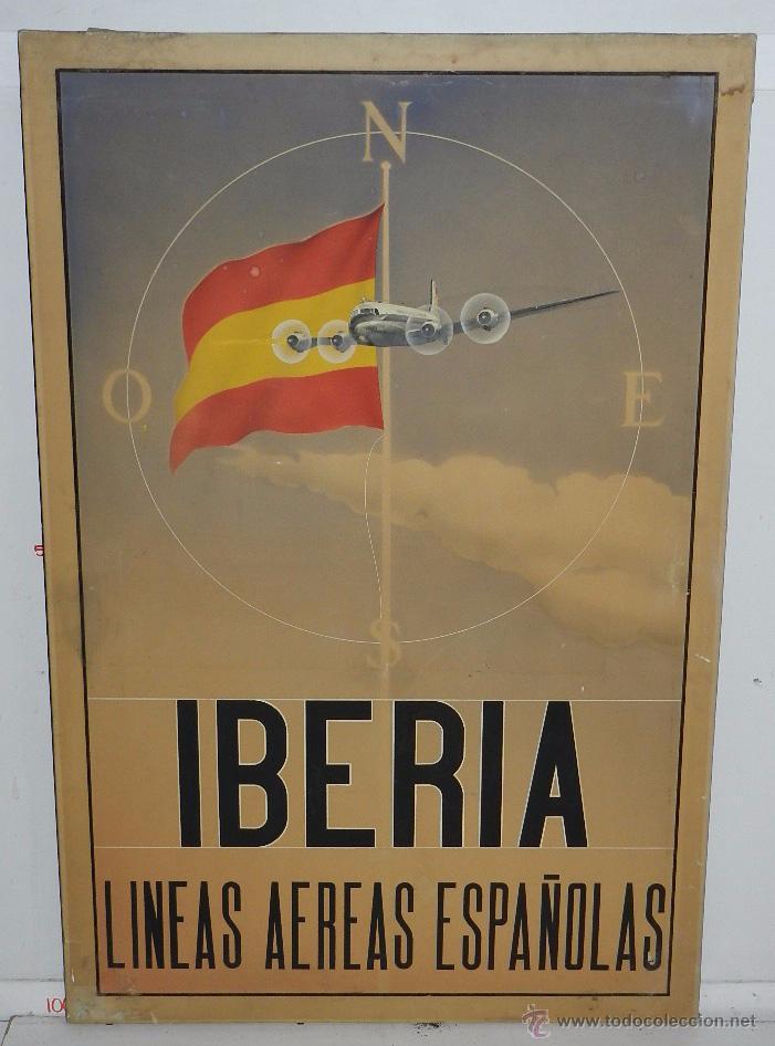 PROTOTIPO DE CARTEL PUBLICITARIO DE IBERIA LINEAS AEREAS ESPAÑOLAS, PARECE ACUARELA, ES DE 1946 APRO (Coleccionismo - Carteles Gran Formato - Carteles Transportes)