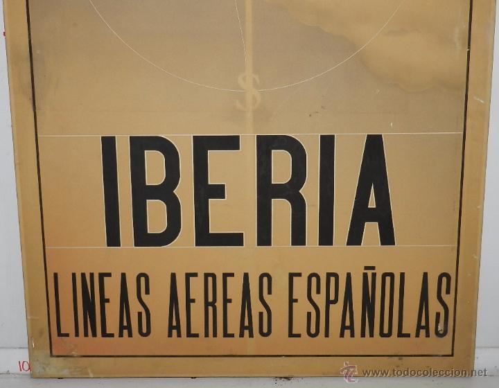 Carteles de Transportes: PROTOTIPO DE CARTEL PUBLICITARIO DE IBERIA LINEAS AEREAS ESPAÑOLAS, PARECE ACUARELA, ES DE 1946 APRO - Foto 3 - 49318504