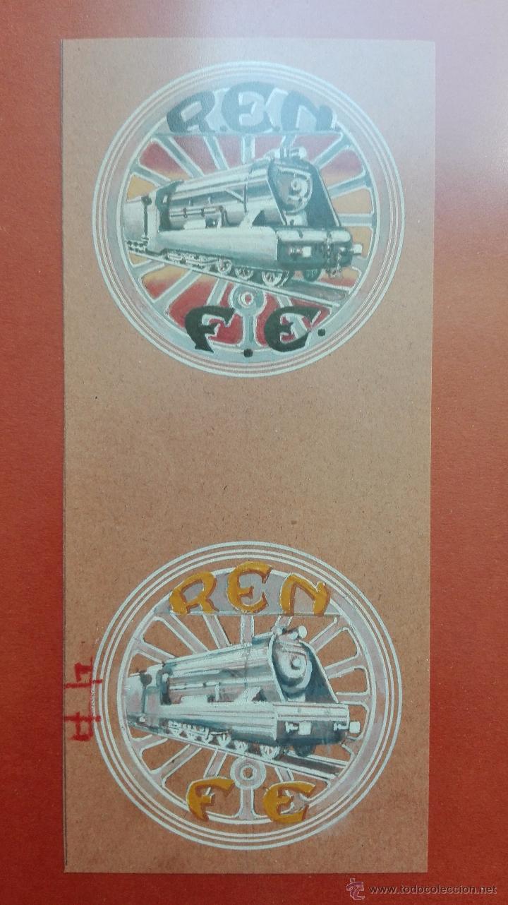 DIBUJO ORIGINAL DE LOGOTIPO O ANAGRAMA DE RENFE - ACUARELA - AUTOR M. BARRERO - 1944 - (Coleccionismo - Carteles Gran Formato - Carteles Transportes)