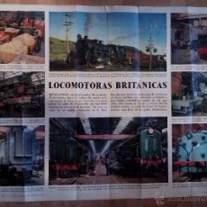 Carteles de Transportes: CARTEL ANTIGUO DE LOCOMOTORAS BRITANICAS. Lote 51035068