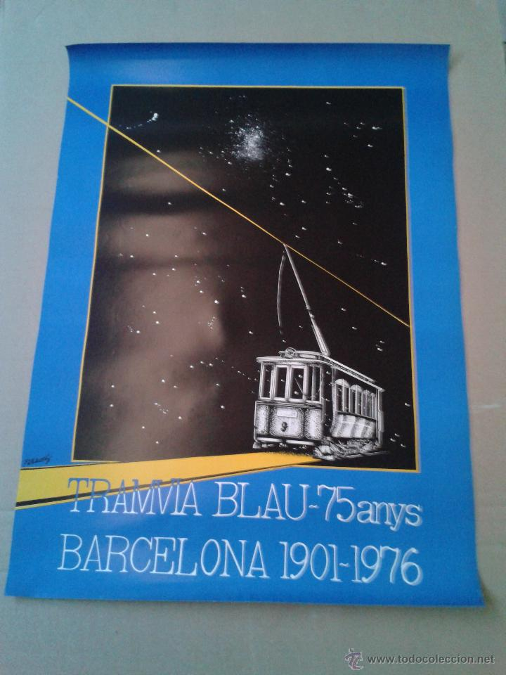 CARTEL POSTER TRANSPORTES METROPOLITANOS BARCELONA 75 ANIVERSARIO TRANVIA BLAU TIBIDABO ORGINAL 1976 (Coleccionismo - Carteles Gran Formato - Carteles Transportes)