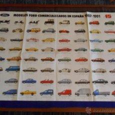 Carteles de Transportes: CARTEL MODELOS FORD COMERCIALIZADOS ESPAÑA 1907 1991 15 ANIVERSARIO FORD ESPAÑA. REGALO PUZZLE ORION. Lote 51352730