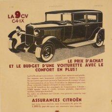 Carteles de Transportes: CARTEL CITROEN. LA 9 CV C4-IX. 1932. FRANCIA. 29 X 38 CM.. Lote 52120569