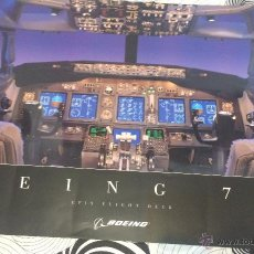 Affiches de Transports: PÓSTER CABINA DE MANDOS DE AVIÓN BOEING 737. GRAN TAMAÑO: 1 M X 70 CM. AÑO 1969. NUEVO.. Lote 106799476