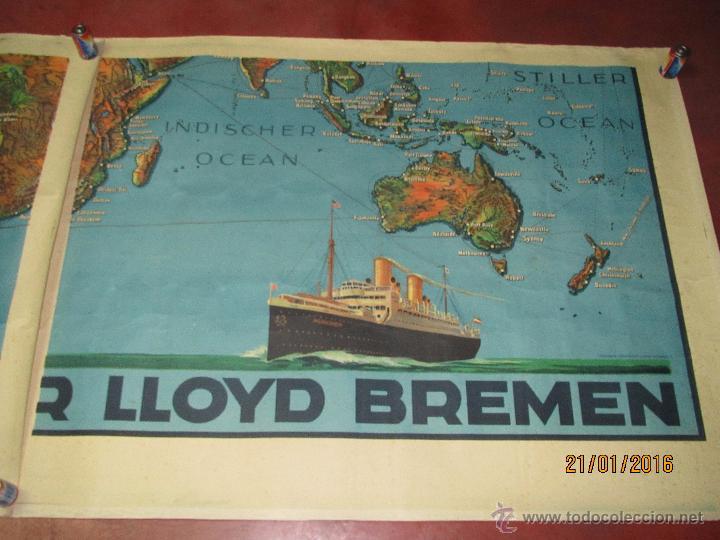 Carteles de Transportes: Cartel Doble de Linea de Navegación NORDDEUTSCHER LLOYD BREMEN Transatlanticos Columbus y München - Foto 2 - 53983715