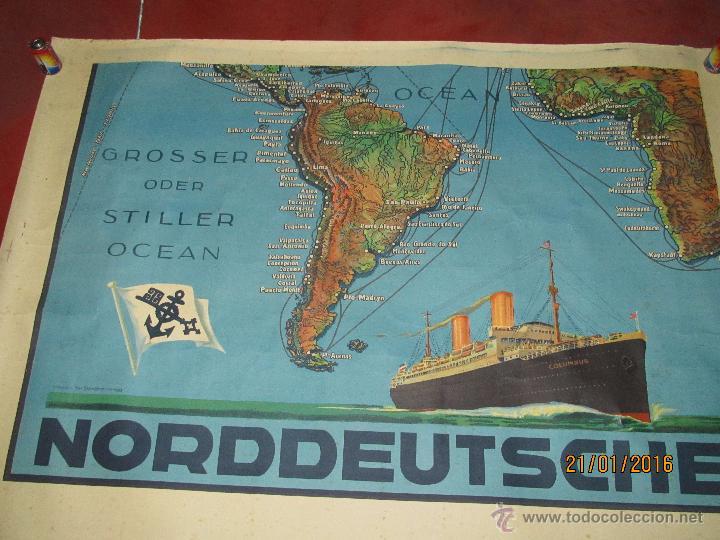 Carteles de Transportes: Cartel Doble de Linea de Navegación NORDDEUTSCHER LLOYD BREMEN Transatlanticos Columbus y München - Foto 3 - 53983715