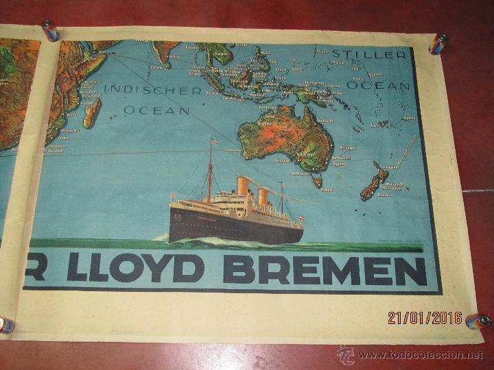 Carteles de Transportes: Cartel Doble de Linea de Navegación NORDDEUTSCHER LLOYD BREMEN Transatlanticos Columbus y München - Foto 4 - 53983715