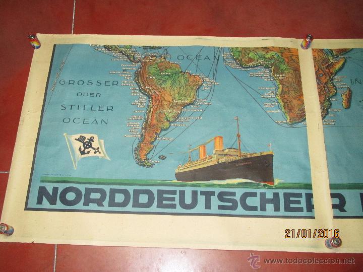 Carteles de Transportes: Cartel Doble de Linea de Navegación NORDDEUTSCHER LLOYD BREMEN Transatlanticos Columbus y München - Foto 5 - 53983715