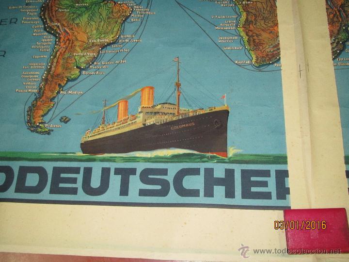 Carteles de Transportes: Cartel Doble de Linea de Navegación NORDDEUTSCHER LLOYD BREMEN Transatlanticos Columbus y München - Foto 6 - 53983715