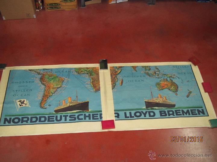 Carteles de Transportes: Cartel Doble de Linea de Navegación NORDDEUTSCHER LLOYD BREMEN Transatlanticos Columbus y München - Foto 8 - 53983715