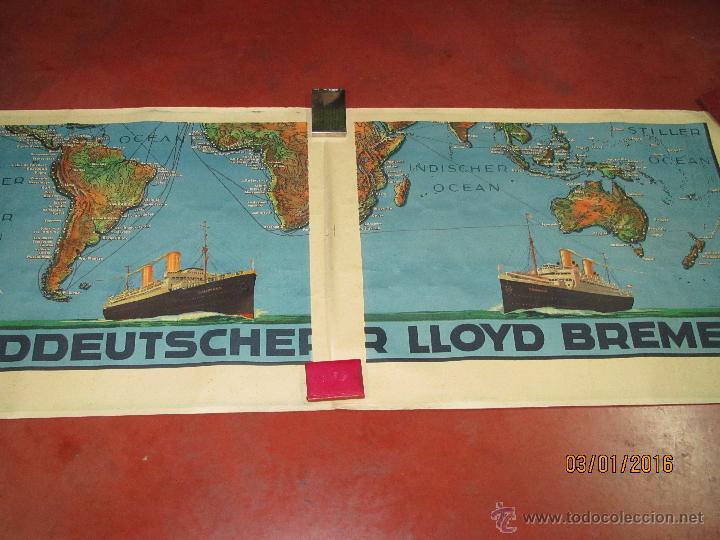 Carteles de Transportes: Cartel Doble de Linea de Navegación NORDDEUTSCHER LLOYD BREMEN Transatlanticos Columbus y München - Foto 9 - 53983715