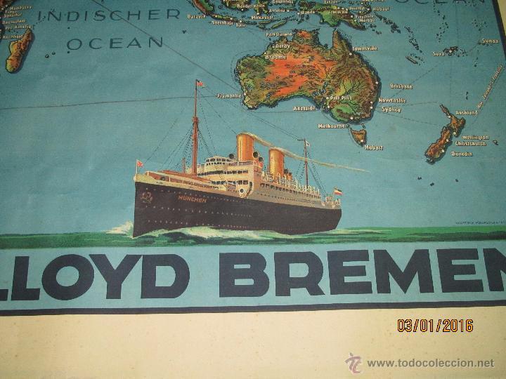 Carteles de Transportes: Cartel Doble de Linea de Navegación NORDDEUTSCHER LLOYD BREMEN Transatlanticos Columbus y München - Foto 10 - 53983715