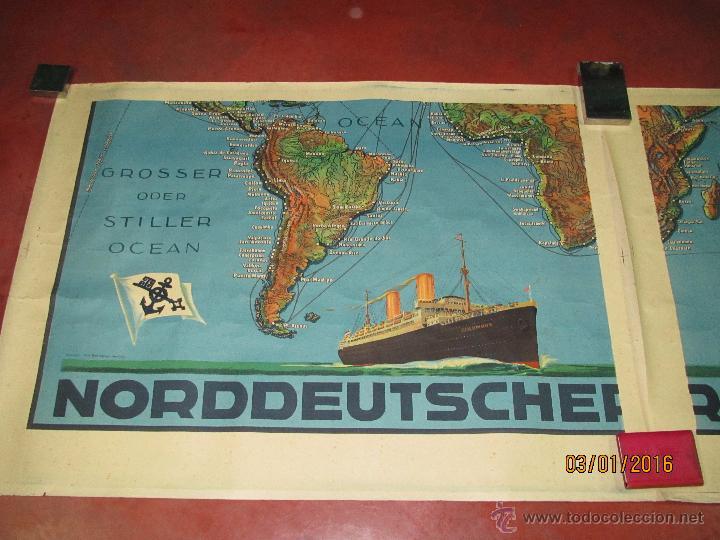 Carteles de Transportes: Cartel Doble de Linea de Navegación NORDDEUTSCHER LLOYD BREMEN Transatlanticos Columbus y München - Foto 12 - 53983715