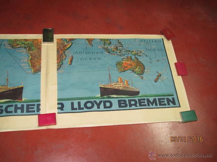 Carteles de Transportes: Cartel Doble de Linea de Navegación NORDDEUTSCHER LLOYD BREMEN Transatlanticos Columbus y München - Foto 13 - 53983715