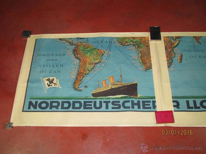 Carteles de Transportes: Cartel Doble de Linea de Navegación NORDDEUTSCHER LLOYD BREMEN Transatlanticos Columbus y München - Foto 14 - 53983715