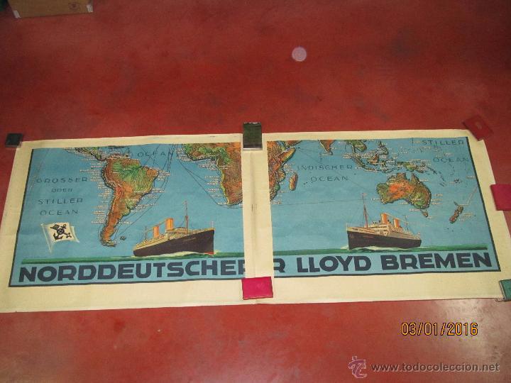 Carteles de Transportes: Cartel Doble de Linea de Navegación NORDDEUTSCHER LLOYD BREMEN Transatlanticos Columbus y München - Foto 15 - 53983715