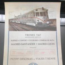 Carteles de Transportes: CARTEL PUBLICITARIO DE RENFE TRENES TAF. Lote 245926700