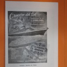 Carteles de Transportes: PUBLICIDAD 1952 - COLECCION HOTEL - CRUCERO DEL SOL VIAJE INAUGURAL ANDREA DORIA . Lote 56744957