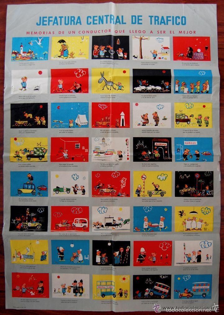 ANTIGUO CARTEL DE LA JEFATURA DE TRAFICO. MEMORIAS DE UN CONDUCTOR.1961.COCHE AUTOMOCIÓN (POSTER) (Coleccionismo - Carteles Gran Formato - Carteles Transportes)