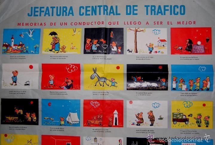 Carteles de Transportes: ANTIGUO CARTEL DE LA JEFATURA DE TRAFICO. MEMORIAS DE UN CONDUCTOR.1961.COCHE AUTOMOCIÓN (POSTER) - Foto 2 - 57033150