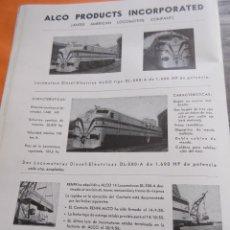 Carteles de Transportes: PUBLICIDAD 1955 - COLECCION TRENES - ALCO . Lote 58268665