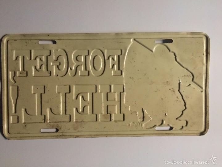 Carteles de Transportes: Placa delantera confederada de coche USA (OLVIDA EL INFIERNO) - Foto 2 - 58398404