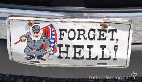 Carteles de Transportes: Placa delantera confederada de coche USA (OLVIDA EL INFIERNO) - Foto 6 - 58398404