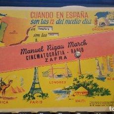 Affiches de Transports: MANUEL RIGAU MARCH. ZAFRA-BADAJOZ AÑOS 50 -. Lote 70320861