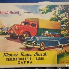 Affiches de Transports: MANUEL RIGAU MARCH. ZAFRA-BADAJOZ AÑOS 50 -. Lote 70321005