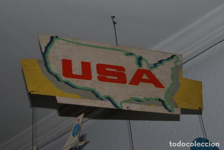 Carteles de Transportes: CARTEL COLGANTE CON PUBLICIDAD DE PAN AM USA - MÓVIL PUBLICITARIO PANAM - LÍNEA AÉREA - AÑOS 60 - Foto 2 - 70566921
