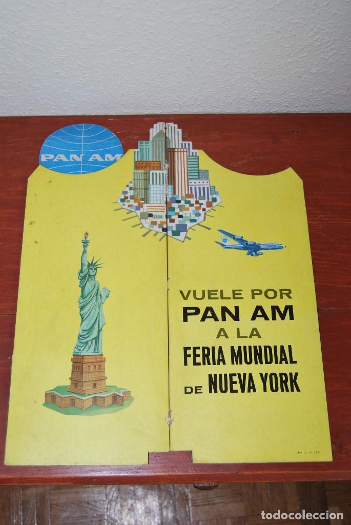 Carteles de Transportes: CARTEL EN RELIEVE CON PUBLICIDAD DE PAN AM - FOLLETO PANAM - FERIA MUNDIAL DE NUEVA YORK - 1964 - Foto 18 - 70568001