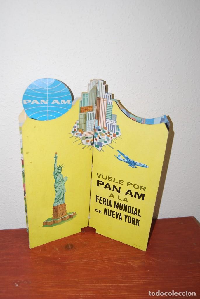 Carteles de Transportes: CARTEL EN RELIEVE CON PUBLICIDAD DE PAN AM - FOLLETO PANAM - FERIA MUNDIAL DE NUEVA YORK - 1964 - Foto 19 - 70568001