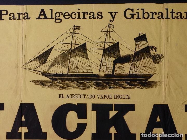 VAPOR INGLES JACKAL LINEA ALGECIRAS Y GIBRALTAR, 1891 (Coleccionismo - Carteles Gran Formato - Carteles Transportes)
