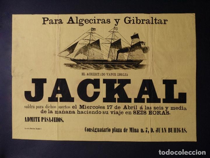 Carteles de Transportes: VAPOR INGLES JACKAL LINEA ALGECIRAS Y GIBRALTAR, 1891 - Foto 2 - 80815071