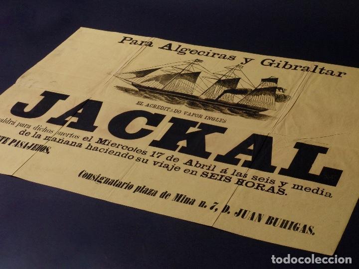Carteles de Transportes: VAPOR INGLES JACKAL LINEA ALGECIRAS Y GIBRALTAR, 1891 - Foto 3 - 80815071
