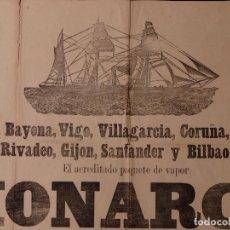 Carteles de Transportes: PAQUETE DE VAPOR MONARCA, LINEA CORNISA CANTABRICA, SOBRE 1890. Lote 80816503