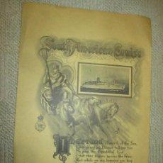 Carteles de Transportes: SOUTH AMERICAN CRUISE, TRASATLÁNTICO REINA DEL MAR 1956, CERTIFICADO DE PASO DEL ECUADOR 28X42 CM. Lote 81566348