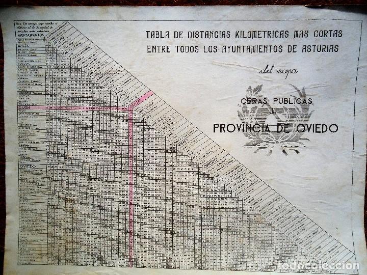 TABLA DE DISTANCIAS OBRAS PÚBLICAS OVIEDO AÑOS 40 DE GRAN TAMAÑO 33 X 44 CM. (Coleccionismo - Carteles Gran Formato - Carteles Transportes)