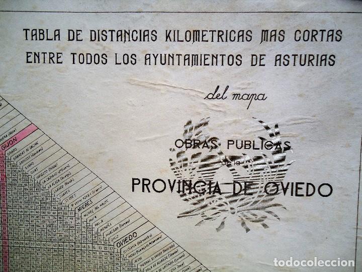 Carteles de Transportes: TABLA DE DISTANCIAS OBRAS PÚBLICAS OVIEDO AÑOS 40 DE GRAN TAMAÑO 33 X 44 cm. - Foto 2 - 84976848