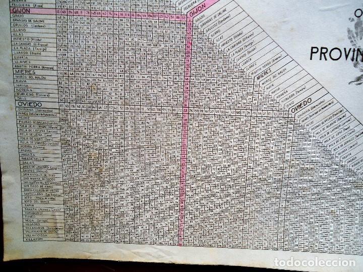 Carteles de Transportes: TABLA DE DISTANCIAS OBRAS PÚBLICAS OVIEDO AÑOS 40 DE GRAN TAMAÑO 33 X 44 cm. - Foto 4 - 84976848