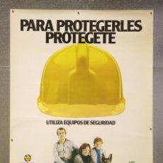 Carteles de Transportes: CARTEL / PÓSTER PUBLICITARIO - RENFE. PARA PROTEGERLES PROTÉGETE - TREN - AÑO 1979. Lote 89351944