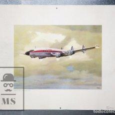 Affissi di Trasporti: CARTEL / PÓSTER PUBLICITARIO DE IBERIA - LOCKHEED L-1049 SUPER CONSTELLATION - MANUEL CUESTA, 1969. Lote 89354420