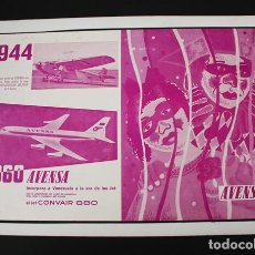 Carteles de Transportes: CARTEL POSTER CARTON 35 X 50 CM PUBLICIDAD AVENSA (AEROLINEA VENEZOLANA) 1944-1960 CONVAIR 880. Lote 90910575