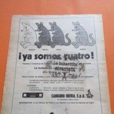Carteles de Transportes: PUBLICIDAD 1972 - COLECCION TRANSPORTE - YBARRA CANGURO IBERIA YA SOMOS CUATRO. Lote 97228423