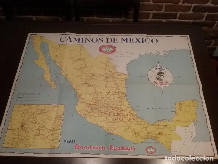 MAPA AUTOMOVILÍSTICO DE MÉXICO , GOODRICH EUZKADI. CARTEL ORIGINAL. (Coleccionismo - Carteles Gran Formato - Carteles Transportes)