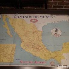 Carteles de Transportes: MAPA CAMINOS DE MÉXICO , GOODRICH EUZKADI. CARTEL ORIGINAL.. Lote 97320535