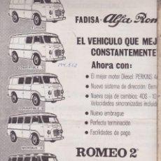 Carteles de Transportes: CARTEL PUBLICIDAD ·· FADISA · ALFA ROMEO · ROMEO 2º ··. Lote 100088387