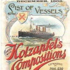 Carteles de Transportes: PEQUEÑO CARTEL DE BARCOS - NAVEGACIÓN - LISTA DE BUQUES - LIST OF VESSELS - AÑO 1902. Lote 103854995
